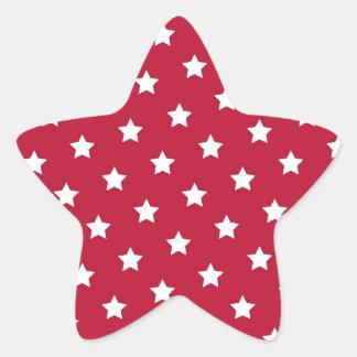 Étoiles de blanc sur le rouge sticker étoile