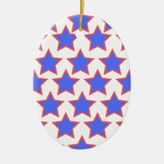 Étoiles de bleu et de rouge ornement ovale en céramique