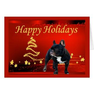 Étoiles de carte de Noël de bouledogue français