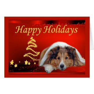Étoiles de carte de Noël de Sheltie