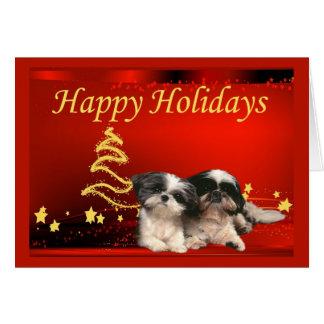 Étoiles de carte de Noël de Shih Tzu