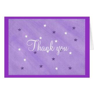 Étoiles de carte de remerciements, pourpres et de