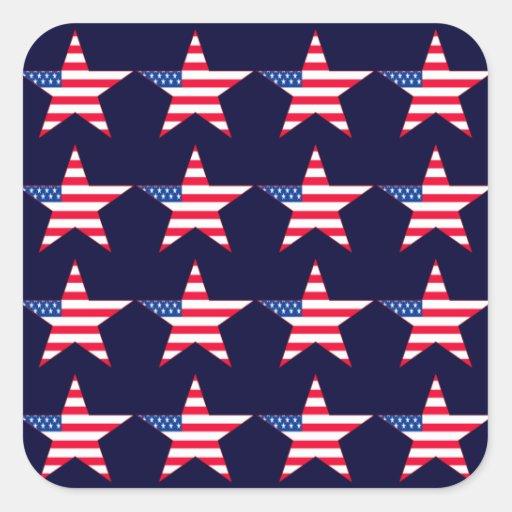 Étoiles de drapeau américain autocollant carré