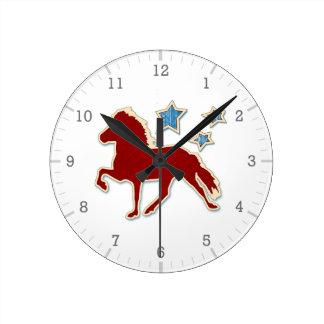 Étoiles de fête de cheval islandais horloge ronde