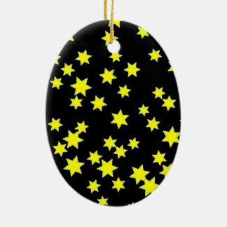 Étoiles de jaune ornement ovale en céramique