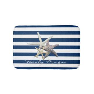 Étoiles de mer adorables, bleu marine tapis de bain