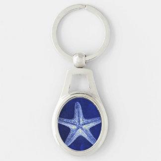 étoiles de mer bleues nautiques rustiques de plage porte-clé ovale argenté