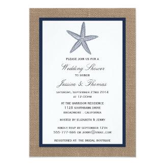 Étoiles de mer de bleu marine sur le wedding carton d'invitation  12,7 cm x 17,78 cm