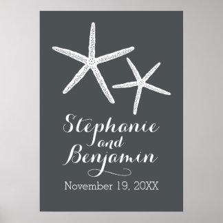 Étoiles de mer de mariage avec le marié et la date posters