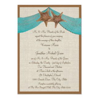 Étoiles de mer d'océan et mariage de filet carton d'invitation  12,7 cm x 17,78 cm