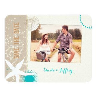 Étoiles de mer + Économies de photo de mariage de Carton D'invitation 10,79 Cm X 13,97 Cm