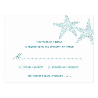Étoiles de mer épousant la carte postale de RSVP -