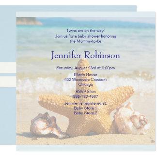 Étoiles de mer et coquillages sur le baby shower carton d'invitation  13,33 cm