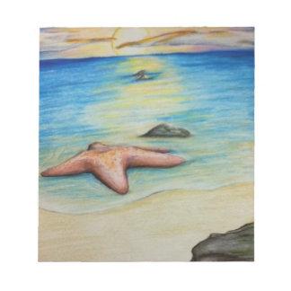 Étoiles de mer et le rivage blocs notes