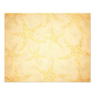 Étoiles de mer pointillées sur le motif vintage de prospectus 11,4 cm x 14,2 cm