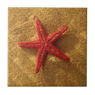 étoiles de mer rouges petit carreau carré