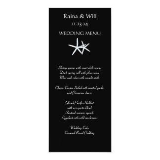 Étoiles de mer sur la carte noire et grande de carton d'invitation  10,16 cm x 23,49 cm
