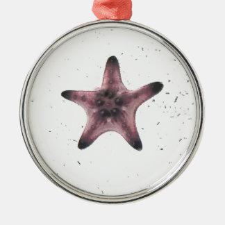 Étoiles de mer sur le motif blanc de minimalisme ornement rond argenté