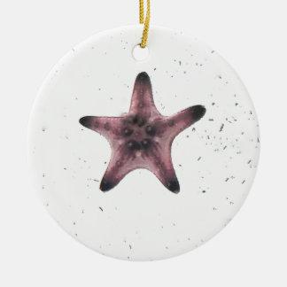 Étoiles de mer sur le motif blanc de minimalisme ornement rond en céramique