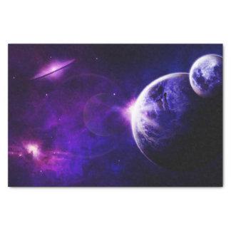 Étoiles de planètes de galaxie de l'espace dans papier mousseline