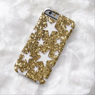 Étoiles de regard de scintillement d'or coque iPhone 6 barely there