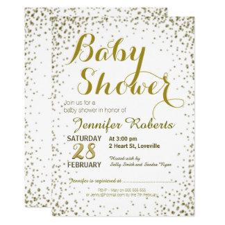 Étoiles de scintillement d'or du baby shower | carton d'invitation  12,7 cm x 17,78 cm
