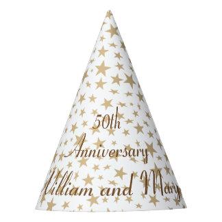Étoiles d'or personnalisées de cinquantième chapeaux de fètes