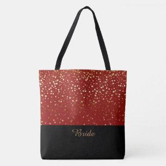 Étoiles d'or rouges et petites de sac fourre-tout