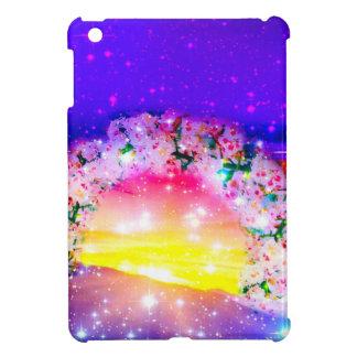 Étoiles et arc-en-ciel des fleurs dans la coque pour iPad mini