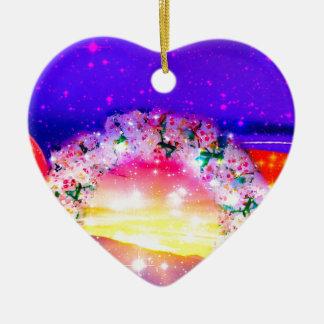 Étoiles et arc-en-ciel des fleurs dans la ornement cœur en céramique