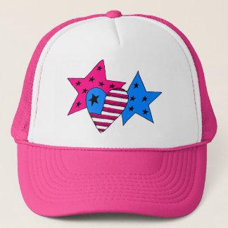 Étoiles et casquette patriotiques de coeur