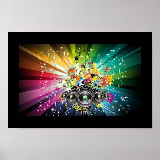 Étoiles et filets, art de bruit de musique poster