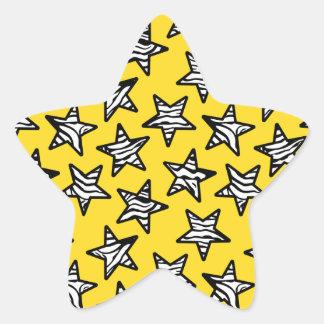 Étoiles jaunes d'impression de zèbre autocollants en étoile