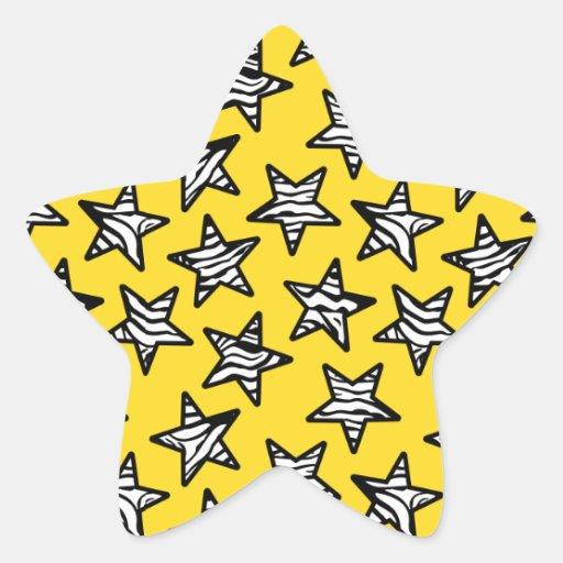 Étoiles jaunes d'impression de zèbre autocollants