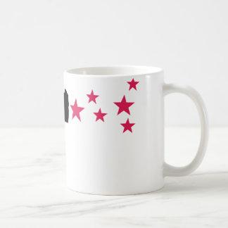 étoiles noires de pistolet d'étoile d'arme à feu mug blanc