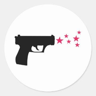 étoiles noires de pistolet d'étoile d'arme à feu sticker rond
