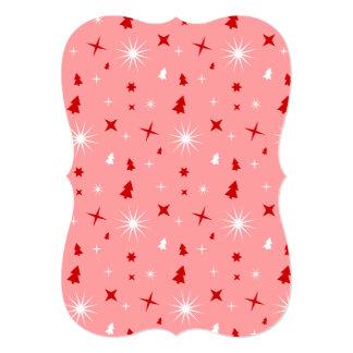 Étoiles rouges blanches d'arbres de Noël de rose Invitation Personnalisée