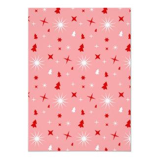 Étoiles rouges blanches d'arbres de Noël de rose Faire-part