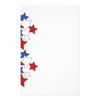 Étoiles rouges, blanches et bleues stationnaires papier à lettre personnalisable