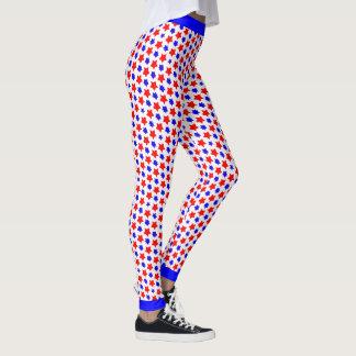 Étoiles rouges et bleues tordues excentriques leggings