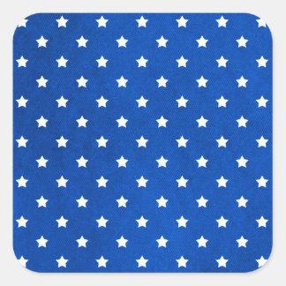 Étoiles sur la texture de tissu sticker carré