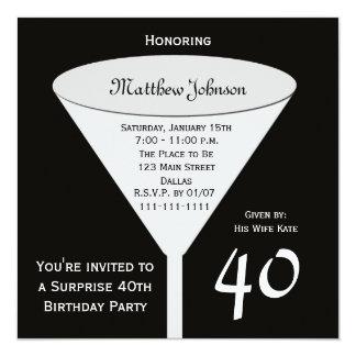 Étonnez la quarantième invitation de fête carton d'invitation  13,33 cm