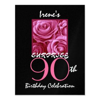 ÉTONNEZ les quatre-vingt-dixième roses S511 de Carton D'invitation 10,79 Cm X 13,97 Cm