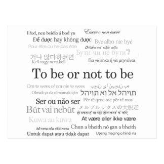 Être ou ne pas être dans beaucoup de langues carte postale