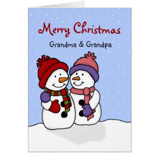 Étreindre la carte de Noël de bonhommes de neige