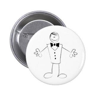 Étreindre le marié avec les bras ouverts badge avec épingle