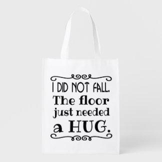 Étreinte de plancher drôle sacs d'épicerie réutilisables