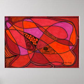 """""""Étude conception en rouge"""" d'affiche de Carolyn Poster"""