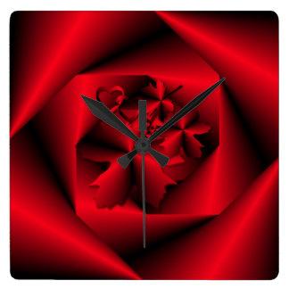 Étude dans l'horloge décorative de ~ rouge horloge carrée