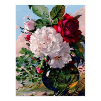 Étude florale victorienne de vase carte postale